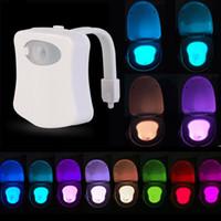 Su geçirmez LED Kase Tuvalet Gece Işıkları Akıllı Hareket Sensörü 8 Renkler RGB Esnek Banyo Koltuk Lambası