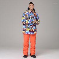 سترة تزلج بانت الرجال الحرارية الشتاء الثلوج تزلج الدعاوى الرجل للماء الجليد الملابس الذكور التزلج على الجليد set1