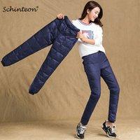Schinteon mujeres pantalones por abajo Pantalones de cintura elástica invierno nieve pantalones casuales hembra cálido grueso S-4XL 201031