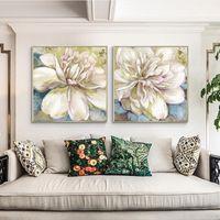 Pintura al óleo de flores pintadas a mano Moderno abstracto pintura pintura de pintura de pintura de la pared para la sala de estar decoración del hogar regalo enamorada sin marco