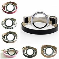 10pcs 30mm Kopie Edelstahl Glas Schwimmwohn Speicher Lockten PU-Leder-Doppelt-Verpackungs-Armbänder mit 10pcs Charme-Frauen-Schmucksachen