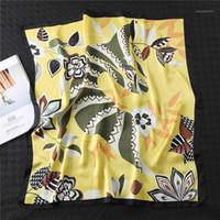 تصميم جديد طباعة سيدة الحرير الرقبة الرقبة والأوشحة الفولار منديل شاح الشعر الأزهار الشعر باندانا هيرباند 2020 الأزياء 1