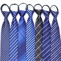 Мужская молния Tie Легко Потянуть Корейский Ленивый Бизнес шеи галстук для мужчин Самцы 8см Узкие Полосатый Tie подарок