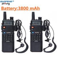Walkie Talkie 2 PCS Baofeng UV-5R 3800 MAH 배터리 듀얼 밴드 라디오 UHF 400-520MHz VHF 136-174MHz 양방향 휴대용 CB