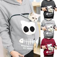 Moda gato amantes moletom canguru cão animal de estimação dropshipping pulôvers carinho bolsa de cuddle moletom bolso animal orelha encapuçado