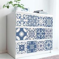 21 * 100 cm * 7 pcs azul marroquino retro portátil adesivo adesivo à prova d'água para cozinha wallpaper1