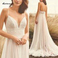 Spaghett correas vestido de boda del cordón de Boho 2020 v cuello Champagne vestido de princesa blanca del traje de mariee Q1112