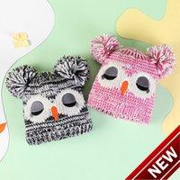 2020 Novo inverno espessamento 2-8 anos de idade coruja dos desenhos animados kindergarten bonitinho chapéu de lã quente menina tp4h