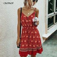 Cropkop Verano Mujer Vintage Floral Algodón Vestido corto Casual Mini Sundress Sexy Invertible Red Imprimir Damas Vestidos Moda T200620