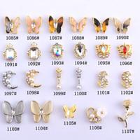 3D flash rhinestone vetro pietra preziosa adesivi adesivi ornamenti in lega d'oro argento vari stili nail art decorazione rifornimenti