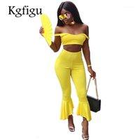 KGFIGU 2018 Summer Nouveau Style Haute Qualité Mode Two Piece Ensembles Femmes Suny Skinny Skinny Débardeurs Débardeurs Élastiques Tautes Flare Pants1