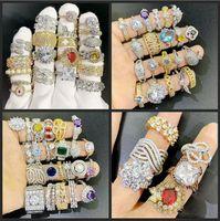24 pcs Lot Mix Designs Gemstone Anel Exagerado Micro Pave Zircon Cristal 18K Real Anéis Banhado A Ouro Atacadista