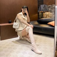 فوق الركبة أحذية النساء الشتاء سنو الجوارب الجلد المدبوغ أسود رمادي البيج البني تمتد إمرأة التمهيد الحفاظ على حجم دافئ 34-40 06