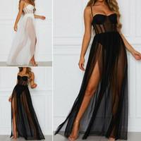 2021 여름 스플릿 긴 드레스 여성 섹시한 핫 얇은 메쉬 속옷 Nightdress 2 피스 비치 드레스 2021