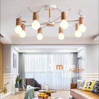 minimaliste moderne nordique tête multi-E27 métal étude bois lustre chambre restaurant / lampe bois lustre ombre