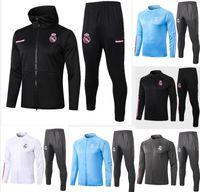 20 - 21 Real Madrid Black Soccer Trainingsanzug Jacken Chandal 2020 21 Camiseta de Futbol Hazard Benzem MODRIC Football Jacket Training Suit Jo