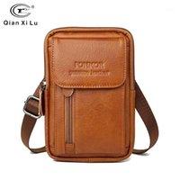 Genuine Leather Wasit Bag para Homens Telefone Celular Fanny Pack Mini Bolsa Bolsa Money Pack Bolsa Caso Capa Capa Capa Para Bag1