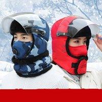 Winter Ловец Trooper Hat Мужская ветрозащитный очки Теплый Камуфляж маска ушанке Спорта на открытом воздухе Прогулки на лыжах Охота Hat DDA657
