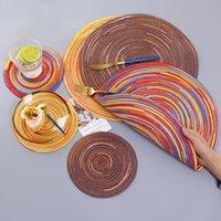 Gökkuşağı renk placemat kase saten boyalı rami pamuk iplik dokuma fincan ped yuvarlak plaka mat bireysel manto yemek coaster seti T200703