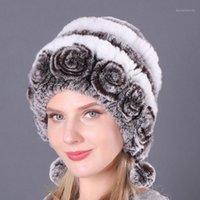 Beanie / Kafatası Kapaklar Atoshare 2021 Moda Kış Kadın Kürk Şapka Gerçek Rex Cap Kalın Sıcak Rus Şapka Topları ile Kafatasları Beanies1