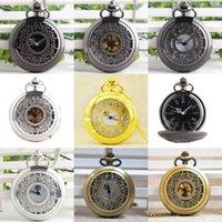 Relógios de bolso P233B Flores pretas Pingente de discagem redonda Grande Hollow Quartz Watch Homens Mulheres Colar Chain Presente Assinalante1