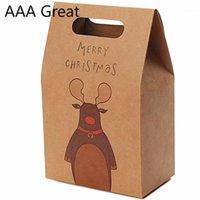 10 pz / lotto retrò carta kraft cartoon scatola regalo di Natale calzini sciarpa di seta maniglia scatola regalo contenitore scatole di stoccaggio pupazzo di neve elk stand up1