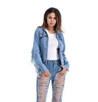 Women Tassel Patckwork Denim Jacket Lapel Neck Long Sleeve S...