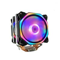 Охлаждение ноутбука 12 см CPU Cooler двойной светодиодный вентилятор 6 тепловая труба 4Pin Heatsink для 775/1150/1155/1156/1366 AMD ALL1