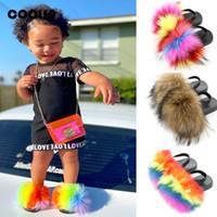 Летние Детские тапочки Детские слайды с ремешком Пушистые лисы Fix Flip Plops плоский эластичный ребенок пушистые сандалии милые меховые туфли C1002