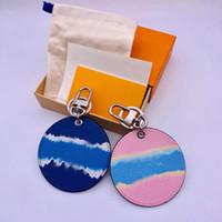 Marque Designer Lettre Imprimer Bleu Rose Simple Car Keychain Sac Pendentif Charm Bijoux Porte-clés Porte-porte-clés en cuir PU Accessoires