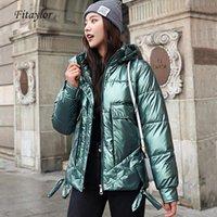 Fitaylor Kadınlar Kış Kapşonlu Aşağı Pamuk Pamuk Ceket Parlayan Kumaş Kalınlaşmak Kısa Coat Bayan Casual Sıcak Parka 201109
