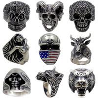 5pcs / lot Vintage Gothic Wolf Head Anello Anello da uomo Skull Anello Punk Gioielli Accessori Demone Satana Anello del cranio di capra