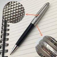 أعلى درجة فاخرة القلم العلامة التجارية الفضة الملمس كاب معدن حبر جاف معدن / رولربال قرطاسية الأسود الراتنج برميل 163