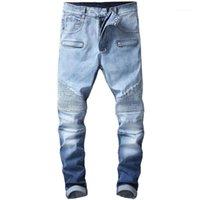 Männer Jeans Kimsere Männer Plissee Motorrad Jean Pants Mode Hi Street Biker Denim Hose Für Mann gewaschene blaue Streetwear Größe 29-401