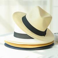 HT2261 2020 قبعات صيف جديد رجال نساء سترو قبعات بنما الصلبة عادي واسعة شاطئ بريم مع فرقة للجنسين فيدورا قبعة الشمس