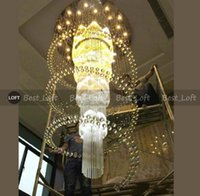 Dia100 * H240cm 큰 현대 크리스탈 샹들리에 조명 광택 호텔 계단 라이트 빌라 거실 펜던트 램프 호텔 로비 설비