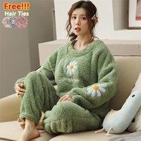 Melife Winter Warm Green Seda Pijama Conjuntos de Pijama para Mujeres 100% Velvet Atoff Home Franel Sleepwear Ropa de noche de peluche Satin 201133