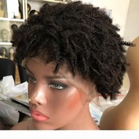 Африканские вьющиеся кружева передние человеческие парики волос натуральные глядя 130% плотность 8 дюймов бразильский реми человеческие волосы короткие парики для женщин