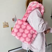 여성을위한 고용량 푹신한 숄더 백 레오파드 얼룩말 인쇄 겨드랑이 가방 사랑 하트 패턴 부드러운 봉제 따뜻한 모피 토트 백