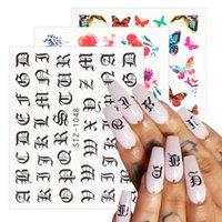 16 pc / Set Nail decalcomanie degli autoadesivi Fiori Lettere Animali Nail Art trasferimento dell'acqua Sliders Foil Wraps manicure Decori