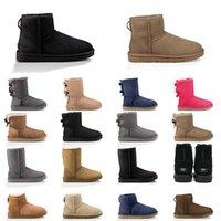 Zapatillas de nieve Australia Botas para mujer Castaño Botas de nieve marrón rosa azul marino azul negro moda tobillo clásico bota corta mujer zapatos de invierno