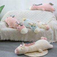 Милая плюшевая игрушка единорога 70-120см длинная спящая подушка наполненный животных unicorn бросить подушку дома украшения для девочки lj200902