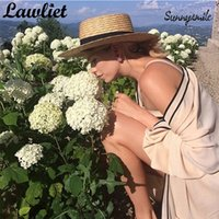 Femmes larges bords d'été chapeaux de la plage de paille naturelle chapeaux plateaux haut de soleil chapeaux chapeaux robe chapeau de mode de mode Chapeau Feminino Sun Cap T200104