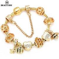 CINTA CÓDIGO autênticos Bees Cor ouro oscilam Charm Bracelet White cristal pulseira contas de Mulheres presente de aniversário para crianças