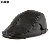 Berets Siloqin 정품 가죽 모자 가을 겨울 남성 양피 모자 패션 남자 브랜드 모자 여러 가지 빛깔의 아빠의 hats1