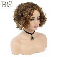 Shanghair 6-дюймовый короткие вьющиеся синтетические парики для черных женщин африканские прически прически натуральные каштановые волосы парик