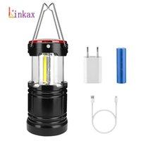 2 in 1 COB-LED-Zelt-Lampe Outdoor-Camping-Licht-3-Modus USB aufladbare Batterie 18650 bewegliche Laterne Arbeiten Leuchten