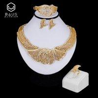 BAU Dubai Schmuck Sets Nigerian Hochzeit Brautmodeschmuck Sets afrikanische Perlen set Große Halskette Ohrringe Geschenk-Sets