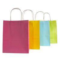 사용자 정의 로고 크래프트 종이 가방 9 단색 축제 선물 패키지 갈색 종이 핸드백 캔디 컬러 쇼핑 가방 345 J2