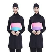 2021 nuove donne a maniche lunghe a contrasto con cappuccio con cappuccio hijab nuoto in surf usura costume da bagno più taglia ydg7